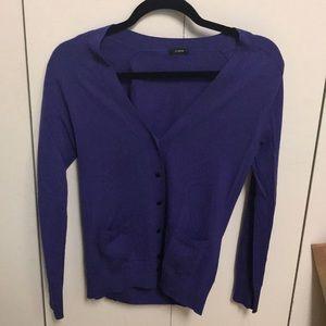 JCREW purple cashmere cardigan